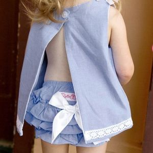 Ruffle Butts Chambray Swing Top & Diaper Cover Set